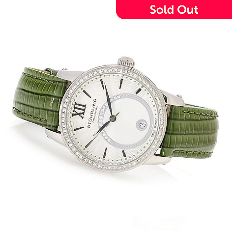 623-291 - Stührling Original Women's Audrey Quartz Leather Strap Watch Made w/ Swarovski® Elements