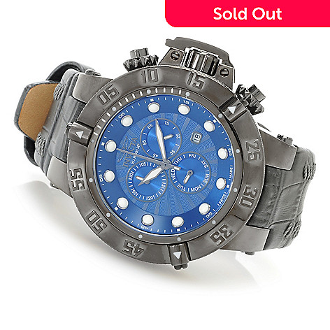 623-309 - Invicta 50mm Subaqua Noma III Swiss Made Quartz Chronograph Leather Strap Watch