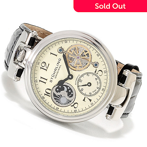 623-338 - Stührling Original Men's Emperor Automatic Dual Time Leather Strap Watch