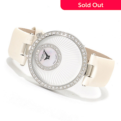 623-345 - Stührling Original Women's Radiance Quartz Leather Strap Watch Made w/ Swarovski® Elements