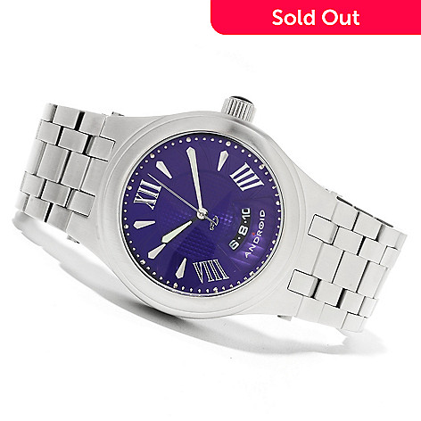 623-373 - Android 50mm Spiral Automatic Stainless Steel Bracelet Watch w/ Three-Slot Case
