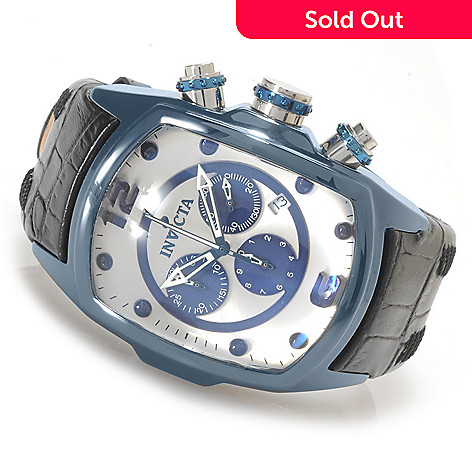 623-397 - Invicta Tonneau Lupah Revolution Quartz Chronograph Ceramic Case Leather Strap Watch