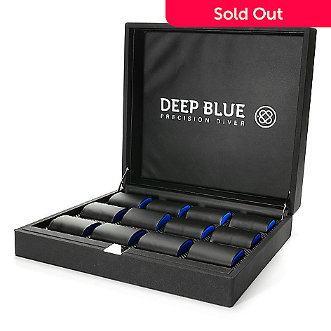 623-406 - Deep Blue 12-Slot Hinged Watch Box