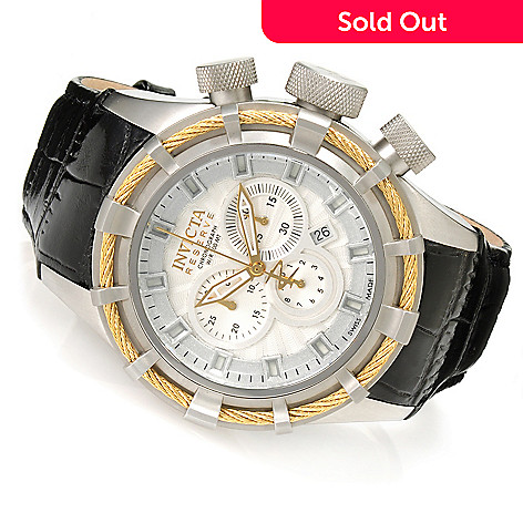 623-480 - Invicta Reserve Men's Bolt Swiss Chronograph Leather Strap Watch w/ Eight-Slot Dive Case