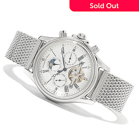 623-529 - Constantin Weisz Men's Automatic Open Heart Mesh Multi Function Bracelet Watch