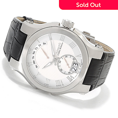 623-543 - Renato Men's Calibre Robusta Classic Quartz Stainless Steel Leather Strap Watch