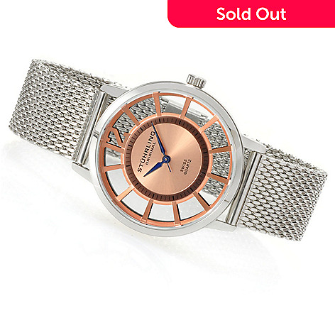 623-565 - Stührling Original Mid-Size Winchester Swiss Quartz Mesh Stainless Steel Bracelet Watch