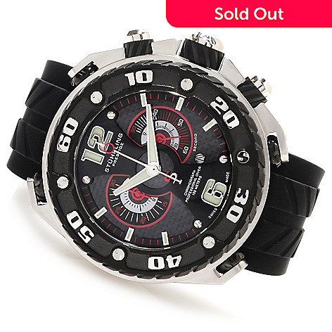 623-567 - Stührling Prestige Men's Maverick Swiss Made Quartz Chronograph Rubber Strap Watch
