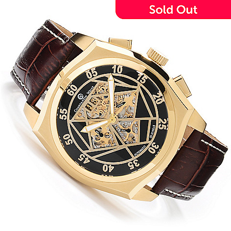623-579 - Constantin Weisz Men's Automatic Skeletonized Leather Strap Watch w/ 6-Slot Case