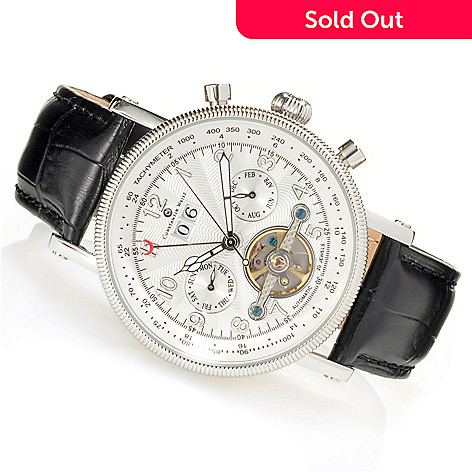 623-582 - Constantin Weisz 44mm Automatic Open Heart Multi Function Leather Strap Watch