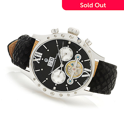 623-584 - Constantin Weisz 44mm  Automatic Open Heart Multi Function Leather Strap Watch