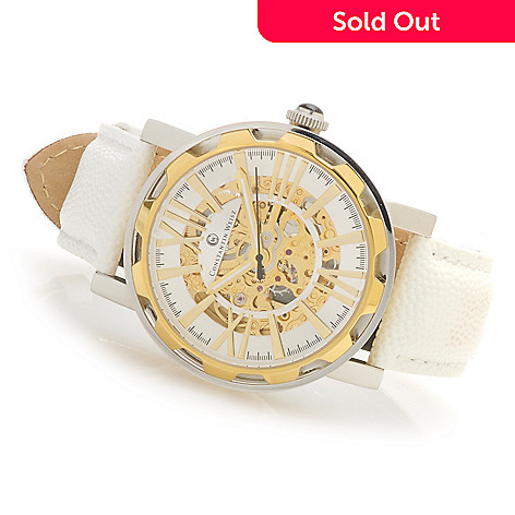 623-588 - Constantin Weisz Women's Skeletonized Automatic Leather Strap Watch