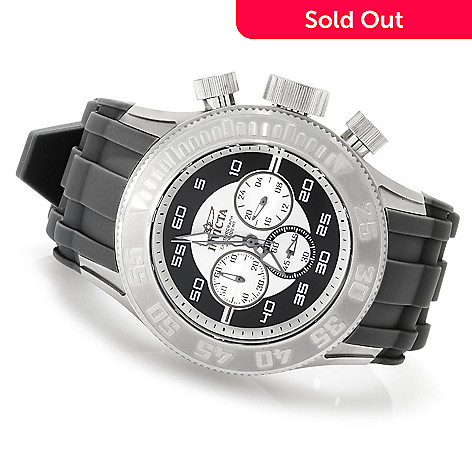 623-622 - Invicta 50mm Pro Diver XL Quartz Chronograph Stainless Steel Silicone Strap Watch