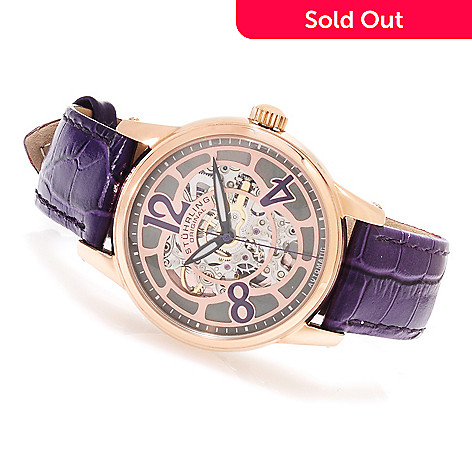 623-634 - Stührling Original Women's Audrey Rosetta Automatic Skeleton Leather Strap Watch