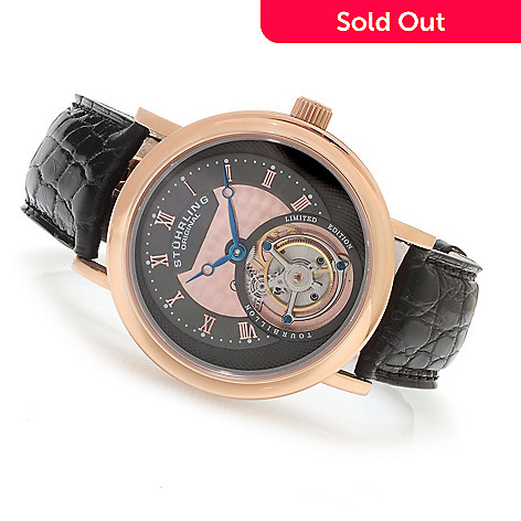 623-640 - Stührling Original Men's Circulaire Limited Edition Mechanical Tourbillon Alligator Strap Watch