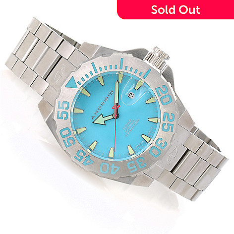 623-656 - Android Men's Divemaster Silverjet 500 Automatic Stainless Steel Bracelet Watch w/ Tan 3-slot Case