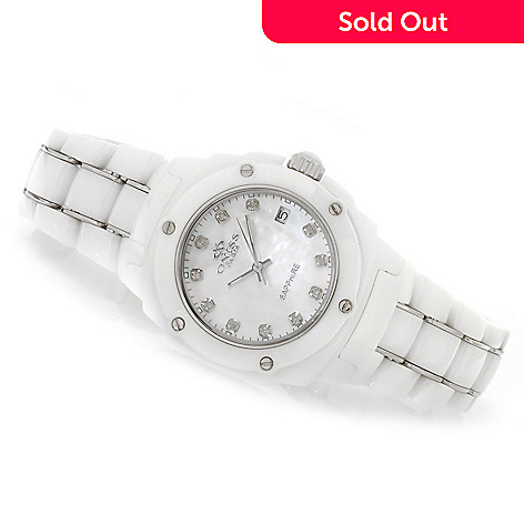 623-673 - Oniss Women's Galaxy Quartz Diamond Accented Ceramic Bracelet Watch