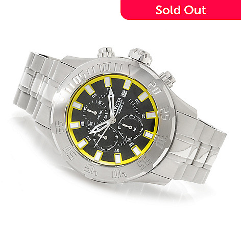 623-709 - Invicta 50mm Pro Diver Quartz Chronograph Bracelet Watch w/ Three-Slot Dive Case