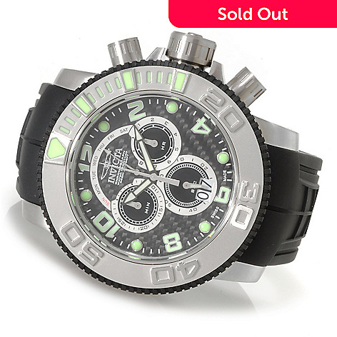 623-712 - Invicta Men's Sea Hunter Swiss Chronograph Polyurethane Strap Watch w/ Three-Slot Dive Case