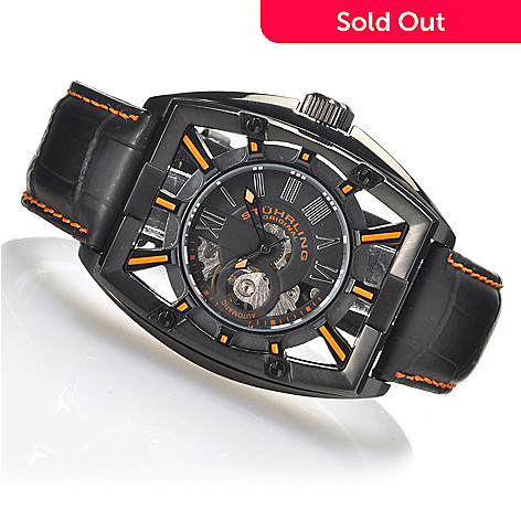 623-719 - Stührling Original Men's Atrium Automatic Skeleton Stainless Steel Leather Strap Watch