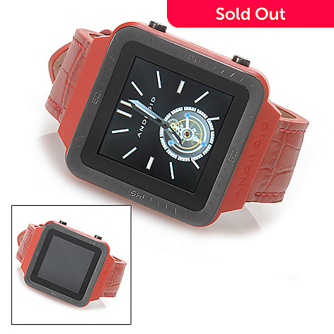 623-736 - Android® SmartWatch™ 45mm Bluetooth® Touch Screen Dial Leather Strap Watch
