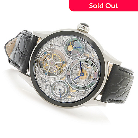 623-766 - Constantin Weisz Men's Limited Edition Mechanical Tourbillon Alligator Strap Watch