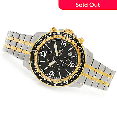 623-856 - Invicta 48mm Specialty Aviator Quartz Chronograph Bracelet Watch w/ Eight-Slot Dive Case