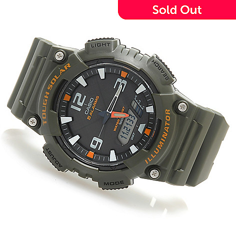 623-872 - Casio 46mm Solar Sport Combination Quartz Chronograph Rubber Strap Watch