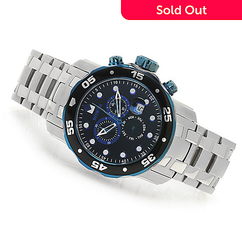 624-594 - Invicta 48mm Pro Diver Scuba Quartz Chronograph Stainless Steel Bracelet Watch