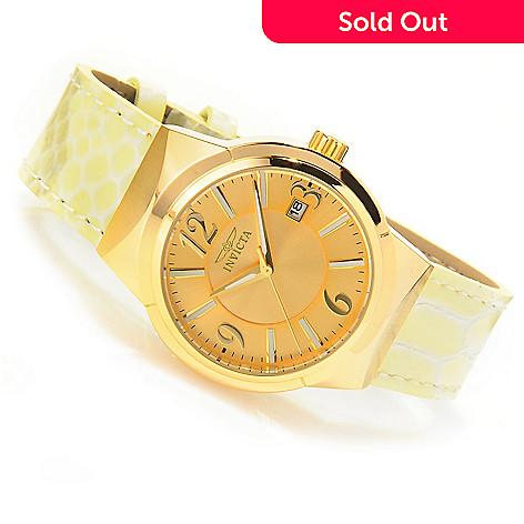 625-937 - Invicta Women's Angel Quartz Stainless Steel Case Leather Strap Watch