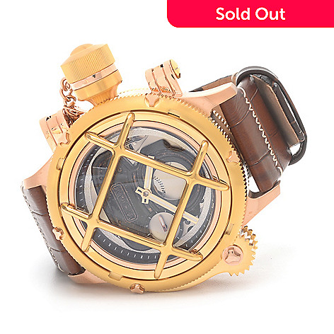 626-134 - Invicta 52mm Russian Diver Nautilus Swiss Made Mechanical Leather Strap Watch