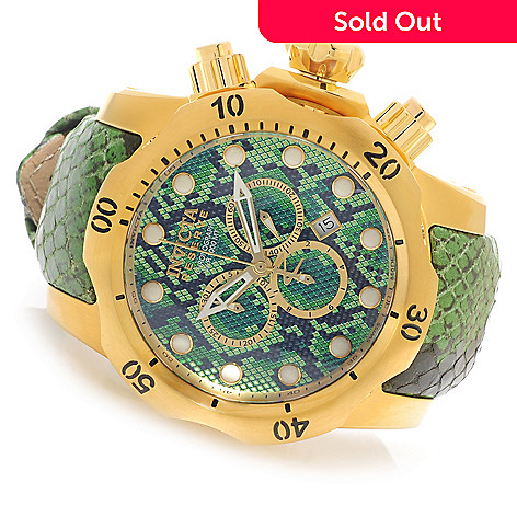 626-137 - Invicta Reserve 52mm or 42mm Venom Swiss Made Quartz Chronograph Leather Strap Watch