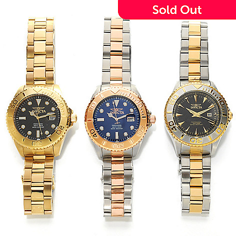 626-362 - Invicta 47mm Set of Three Pro Diver Quartz Bracelet Watches w/ Three-Slot Dive Case