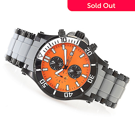 626-608 - Invicta 50mm Sea Spider Quartz Chronograph Polyurethane & Stainless Steel Bracelet Watch