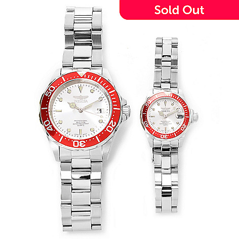 626-629 - Invicta Set of Two 24mm & 40mm Pro Diver Quartz Stainless Steel Bracelet Watches w/ Travel Box