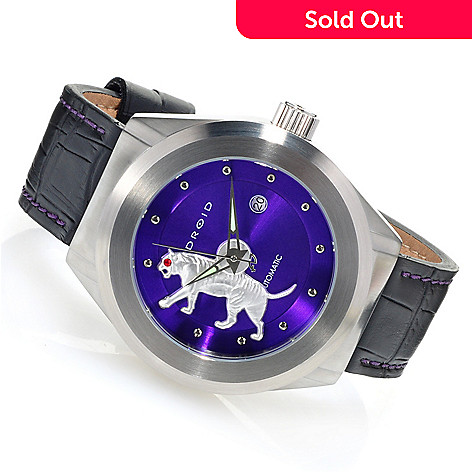 626-635 - Android 50mm Tattooed Tiger Automatic Spinning Rotor Leather Strap Watch