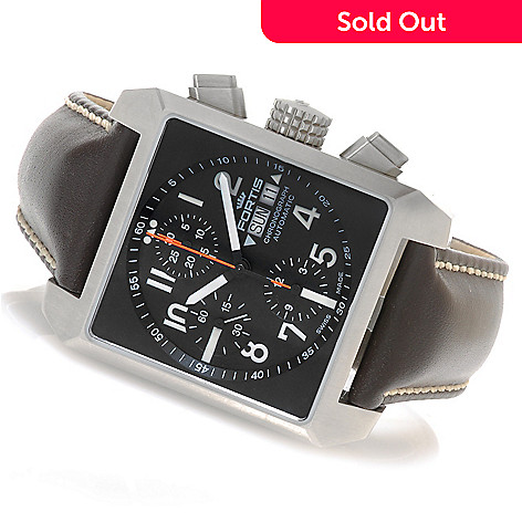 626-687 - FORTIS 38mm Square Swiss Valjoux 7750 Automatic Chronograph Strap Watch