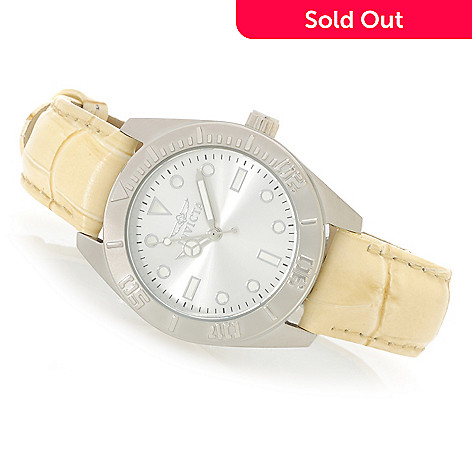 626-697 - Invicta Women's Pro Diver Quartz Stainless Steel Leather Strap Watch
