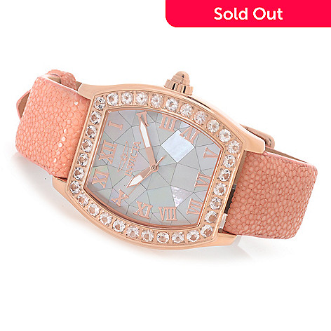 626-750 - Invicta Women's Angel Quartz Morganite Bezel Stingray Strap Watch