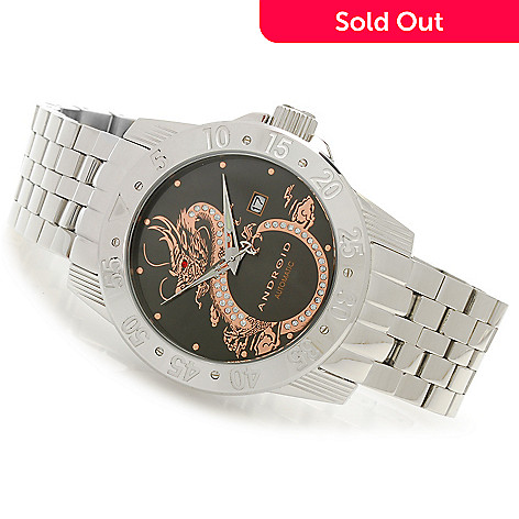 626-878 - Android 48mm Flying Dragon Automatic Stainless Steel Watch Made w/ Swarovski® Elements