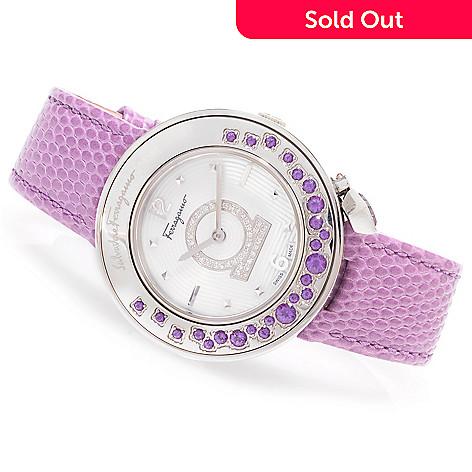 627-086 - Ferragamo Women's Gancino Sparkling Swiss Made Quartz 1.42ctw Topaz & Diamond Leather Strap Watch