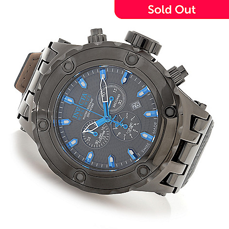 627-205 - Invicta Reserve 52mm Specialty Subaqua Swiss Made Quartz Chronograph Leather Strap Watch