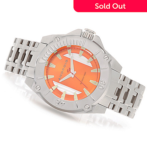 627-231 - Android 50mm Silverjet Quartz Multi Layer Dial Bracelet Watch w/ 3-Slot Travel Case