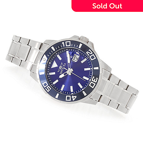 627-348 - Invicta 45mm Pro Diver Quartz Stainless Steel Bracelet Watch w/ Three-Slot Dive Case