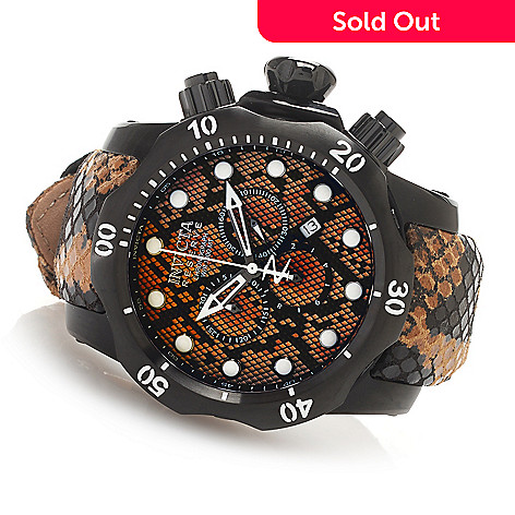 627-366 - Invicta Reserve 42mm or 52mm Venom Swiss Made Quartz Chronograph Leather Strap Watch
