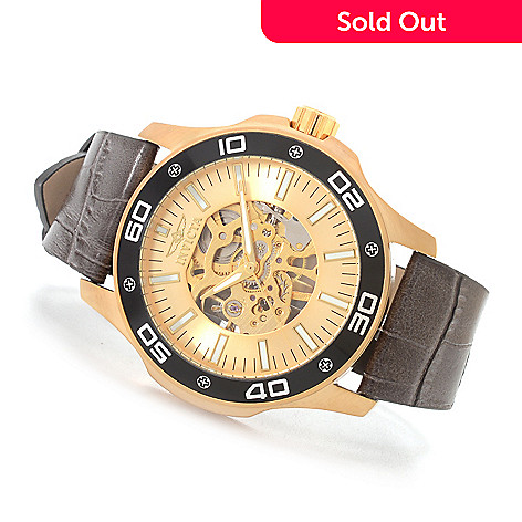 627-377 - Invicta 45mm Grand Mechanical Stainless Steel Leather Strap Watch w/ Three-Slot Dive Case