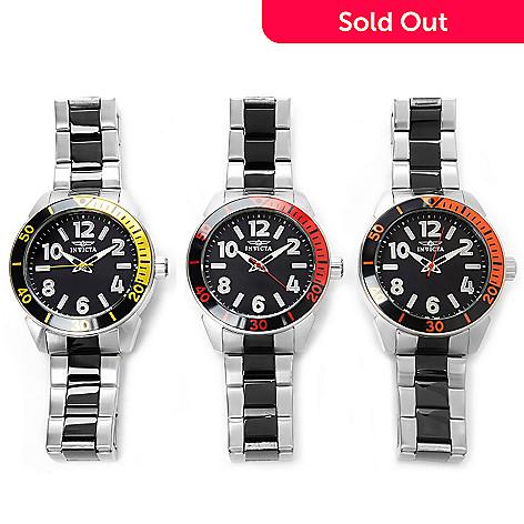 627-431 - Invicta 45mm Set of Three Hydro Diver Quartz Stainless Steel Bracelet Watches w/ 3-Slot Dive Case