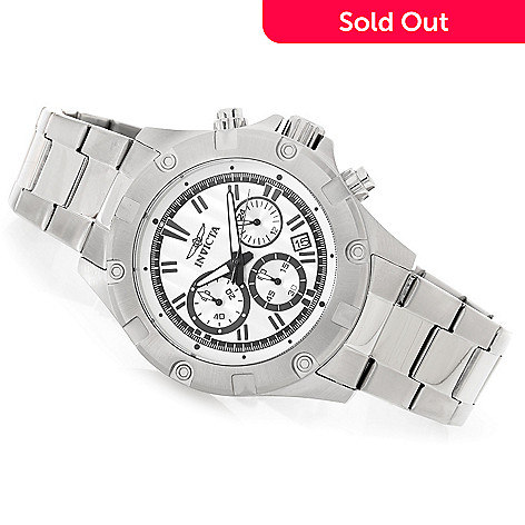 627-666 - Invicta 45mm Triton Quartz Chronograph Stainless Steel Bracelet Watch w/ Three-Slot Dive Case