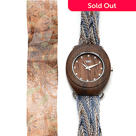 627-677 - WeWOOD Women's ''Belle'' Quartz Wooden Interchangeable Fabric Scarf Wrap Watch
