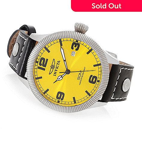 627-685 - Invicta 45mm Specialty Quartz Stainless Steel Leather Strap Watch w/ One-Slot Dive Case